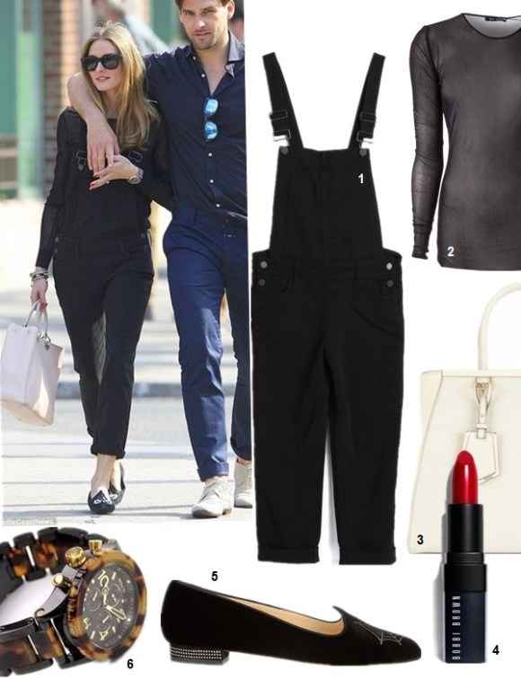 How to Wear Overalls, Olivia Palermo street syle 2014;  1. Paige Sierra Overalls in Vintage Black, (also here & here)  2. BLK DNM Sheer Mesh Top (also here)  5. Charlotte Olympia Charlotte's Web embellished velvet slippers  (also here; similar here)  3. FENDI 2Jours medium textured-leather shopper (great alternative here & here)  4. bobbi brown rich lip color in old hoolywood  6. Nixon 'The 42-20 Chrono' Watch