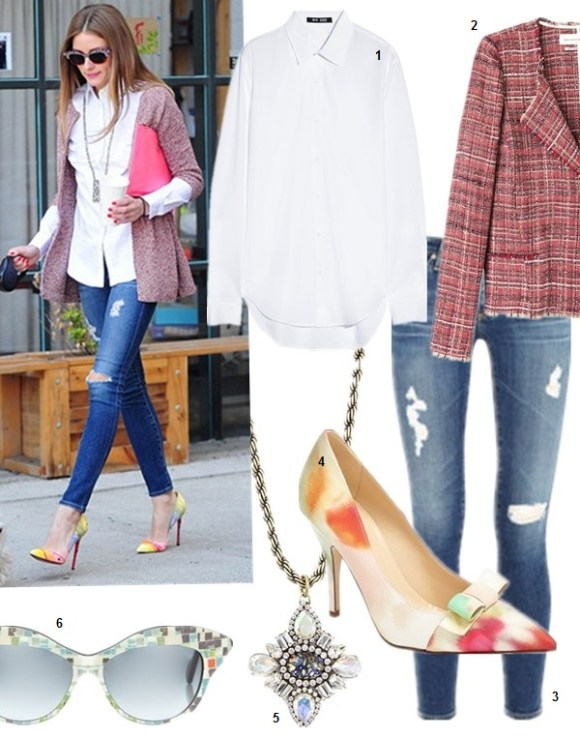 How to wear spring 2014's art trend;  Olivia Palermo street style: christian louboutin yellow printed pump, zara knit cardigan jacket, white shirt, AG Adriano Goldschmied Ankle Legging Jeans, statement necklace,Wunderkind Brown Mosaic Cat-Eye Sunglasses   featured: 1. BLK DNM 50 cotton-poplin shirt (similar here)  2. Isabel Marant Étoile 'Gaylord Summer Cowens' tweed jacket (adore this color block version)  3. AG Adriano Goldschmied Ankle Legging Jeans   4. Kate Spade New York kate spade 'lilia' pump  5. Loren Hope long pendant necklace  6. Wunderkind Brown Mosaic Cat-Eye Sunglasses (similar here)