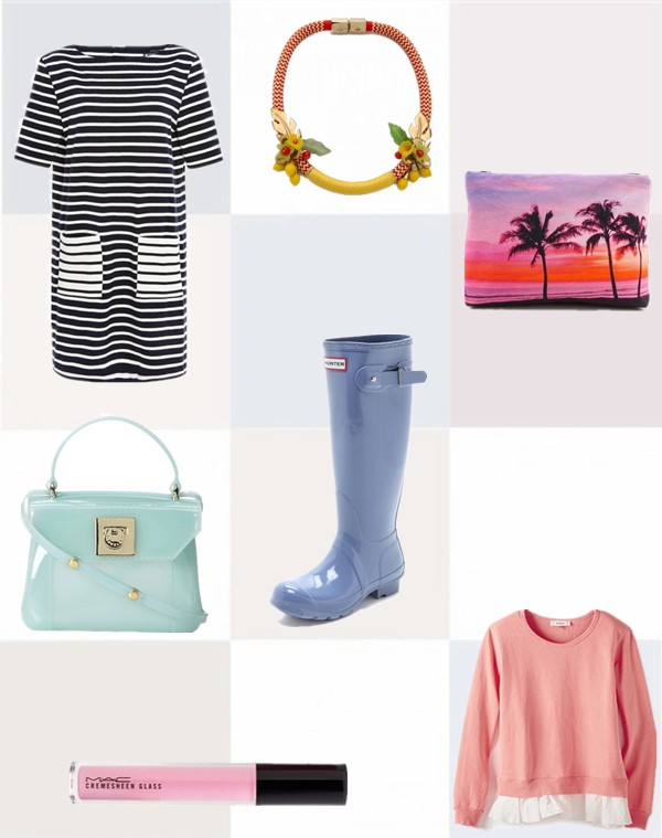 Clockwise from top left:  Dress: PETIT BATEAU Fila Striped Cotton-Jersey Dress  Necklace: Holst + Lee Island Paradise Necklace  Pouch: Samudra Coco Palms Pouch  Sweatshirt: Clu Too Ruffled Sweatshirt  Rain boots: Hunter Boots Original Tall Gloss Boots  Lipstick: M·A·C 'Fantasy of Flowers - Cremesheen + Pearl' Glass  Bag: Furla CANDY MINI CROSS BODY BAG