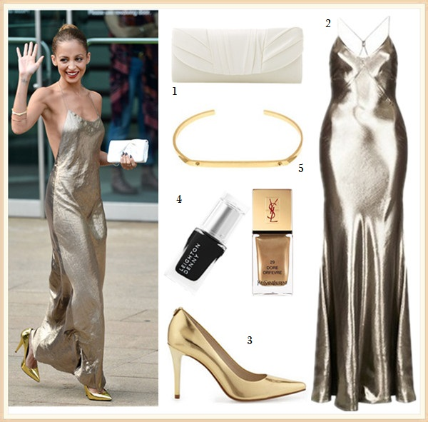 How to wear the metallic fashion trend; night out outfits 2014 featured:  1. Jessica McClintock Tuxedo Flap Clutch  2. Kate Moss for Topshop Lame Bias Cut Maxi Dress (sold out on Topshop, but currently available here)  3. MICHAEL Michael Kors Elisa Pump (also LOVE this rose-gold version!)  4. Leighton Denny nail polish in 'Maneater' & Yves Saint Laurent nail lacquer #29
