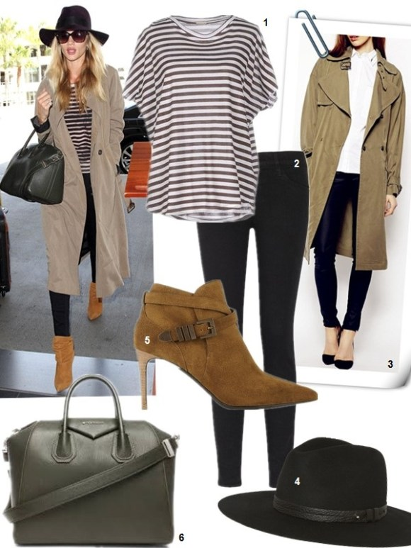 Rosie Huntington airport style-Balmain shoes, Givenchy antigona, defora, Frame skinny jeans, Brian Atwood brown booties