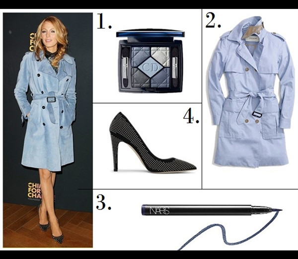 Trench coat outfit 2014 Featured:  1. Dior (Beauty) '5 Couleurs - New Look' Eyeshadow Palette  2. Coach COTTON SUMMER TRENCH  3. Nars Eyeliner Stylo - Atlantic  4. Club Monaco Jamie Studded Pump (similar here; on Blake Lively here)