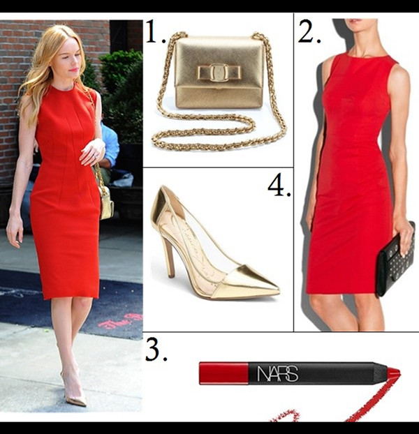 how to wear metallics 2014, Kate Bosworth style featured:  1. Salvatore Ferragamo Vara Flap-Top Ginny Crossbody Bag, Gold (similar here)  2. Milly TOPSTITCHED SHEATH (similar here)  3. Nars velvet Matte Lipstick Pencil  4. Jessica Simpson 'Calkins' Pump