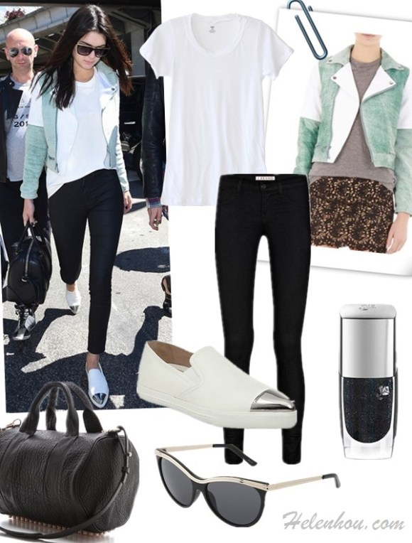 Models off Duty 2014; Celebrity Airport Style; Top: LNA Crew Neck Tee  Jacket: Timo Weiland Colorblock Green and White Biker Jacket (under $80 here)  Jeans: J Brand 915 Super Skinny Legging Jeans  Shoe: Miu Miu Metal Cap Toe Skate Sneaker (also here & here; a must-have this season!)  Nail: Lancôme 'Vernis in Love' Fade Resistant Nail Polish  Sunglasses: Betsey Johnson Mod Cateye W/ Metal To  Bag: Alexander Wang Rocco Duffel with Rose Gold Hardware