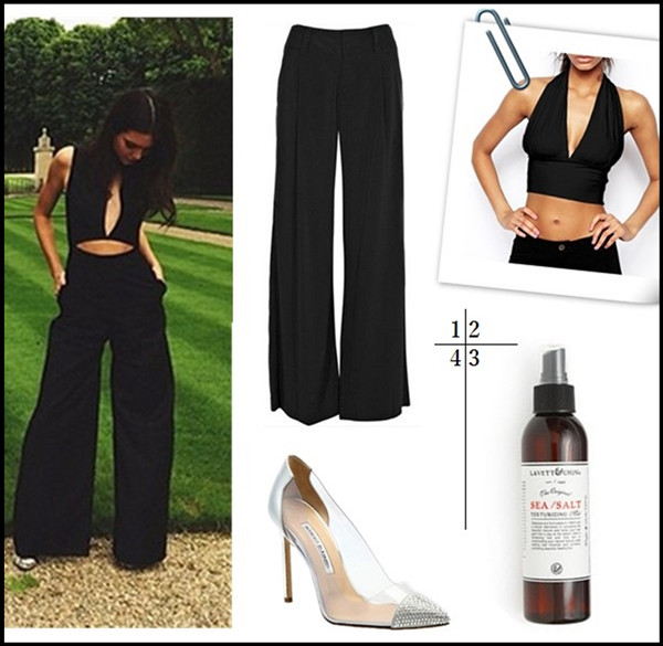Kendall Jenner style 2014; all black outfits;   1. Alice + Olivia Eric Wide Leg Pants (similar here)  2. ASOS Crop Top with Plunge Neck  3. Lavett & Chin Sea Salt/Texturizing Mist  4. Manolo Blahnik Pachacry Jeweled Cap Toe Pumps (similar here & here)