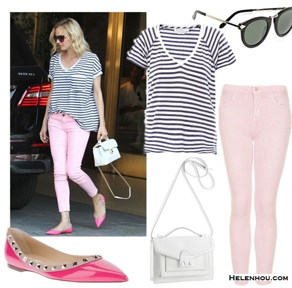 Diane Kruger street style 2014; summer outfit ideas.  Top: Velvet by Graham & Spencer Janis stripe T-shirt ($25 here) Sunglasses: Karen Walker The Harvest Sunglasses  Jeans: Topshop Moto 'Leigh' Skinny Jeans (Regular & Short)  Bag: loeffler randall MINI RIDER BAG (also 50% off here!)  Shoe: Valentino rockstud flat