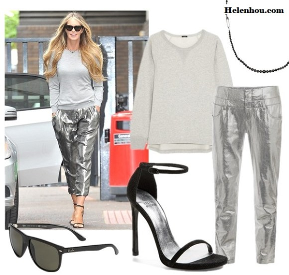 Elle Macpherson talked about how to look fabulous at 50; How to wear metallic trend.   Featured:  Trousers: Theyskens' Theory Nalaminium postel leather trousers (they are leather! similar here) Top: J.Crew Cotton-blend terry sweatshirt  Shoe: Stuart Weitzman 'Nudist' Sandal  Sunglasses: Ray-Ban 'High Street' 60mm Polarized Sunglasses  Necklace: Tom Binns Petite Passive Attack necklace
