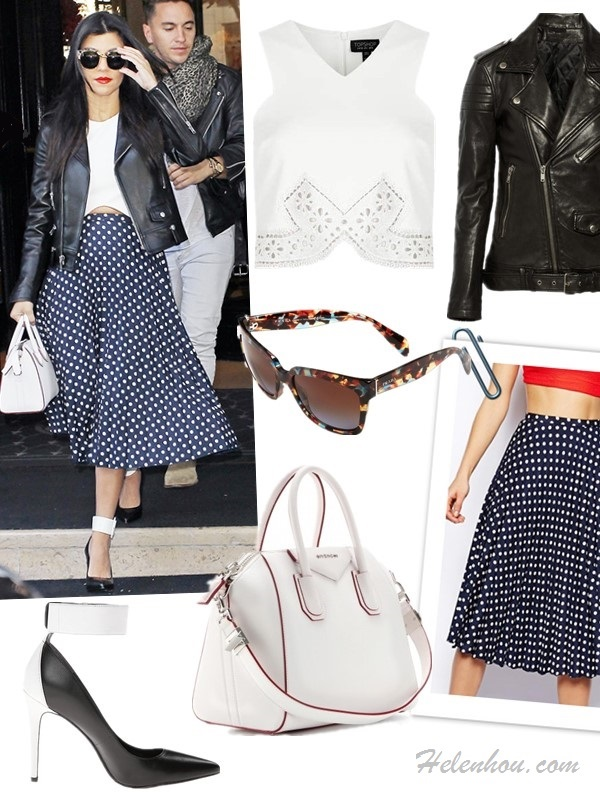 Kourtney Kardashian fashion week street style 2014,    Top: Topshop lace crop top (also adore the pastel version!)  Jacket: BLK DNM Leather Jacket 1 (similar here & here; on Kourtney Kardashian here)  Skirt: ASOS Spot Pleat Midi Skirt (yes, it's the one on Kourtney)  Bag: Givenchy ANTIGONA SMALL LEATHER TOTE (similar here & here)  Sunglasses: Prada 56mm Sunglasses  Shoe: Enzo Angiolini Fastir