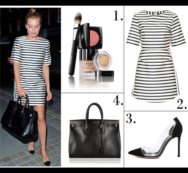The High Low Mix; Celebrity street style 2014;  Featured:  1. Chanel 'The Secret of Vibrant Colour'  2. Topshop satin stripe A-line dress  3. Gianvito Rossi Suede & Plexy Pumps in Black (great alternative here)  4. Saint Laurent Classic Sac De Jour Leather Tote Bag, Black, (similar here & here)