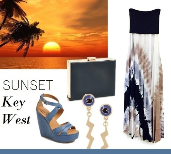 vacation outfit ideas From left to right: Kork-Ease™ Kork-Ease 'Gracen' Sandal Natasha Couture Box Clutch Marc by Marc Jacobs Lightning Bolt enameled gold-tone earrings ($26 now!) Young Fabulous & Broke Bangal Convertible Maxi Dress