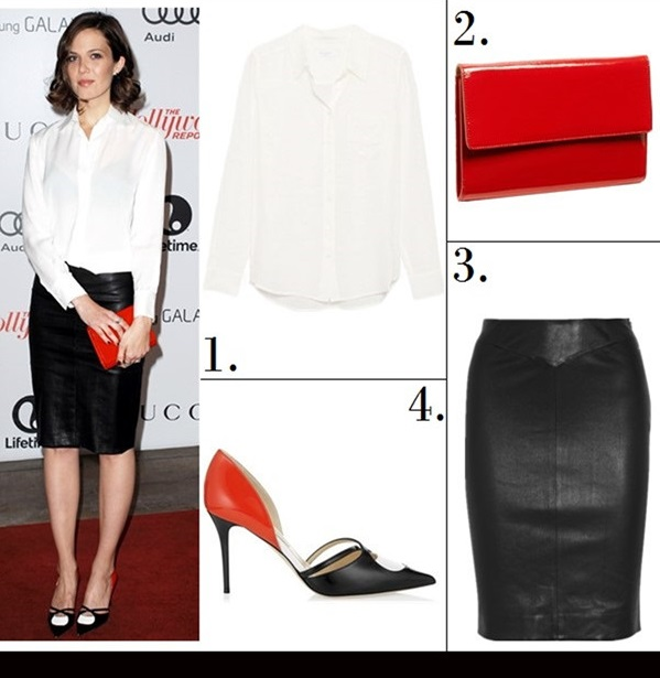 celebrities style 2014; office outfit ideas; wardrobe essentials.  Featured:  1. Equipment Brett Shirt  2. Halogen Patent Leather Clutch  (on Mandy Moore on sale here!)  3. Joseph's sleek black pencil skirt (wardrobe staple! similar here & here)  4. Jimmy Choo 'Lekker Spectator' Pointy Toe Pump