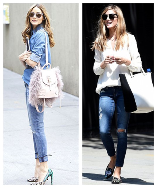 Olivia Palermo street style 2014; How to wear distressed/ripped jeans; denim on denim;