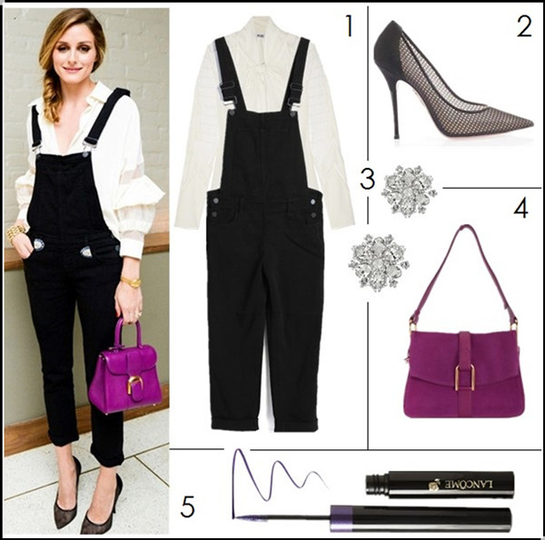 How to wear black and white; summer outfit ideas 2014, street style 2014, Radiant Orchid color trend; 1. ALICE by Temperley chiffon pussy-bow blouse & Paige Denim 'Sierra' Overalls (last seen on her here; similar here) 2. Aquazzura Lulu mesh point-toe pumps (last seen on her here; similar here) 3. Nina 'Treasure Floral' Crystal Brooch (buy a pair! you will be surprised how versatile they are!) 4. Delvaux Givry Santiag suede flap front shoulder bag (also love this!) 5. Lancôme 'Artliner 24H' Bold Color Precision Eyeliner in 'Amethyst