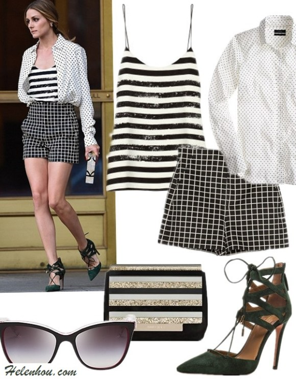 Olivia Palermo street style 2014; How to wear black and white; How to mix checks & stripes,  featured:   Clockwise from top left:  Top: Tibi striped silk cami (50% off! see how she mixed it with plaid here)  Shirt: J.Crew BOY SHIRT IN TRIANGLE DOT (30% off with 'HISUMMER' sitewide)  Shorts: Zara checked Shorts (similar here)  Shoe: Aquazzura Belgravia Suede Lace-Up Pumps (more colors here; great alternative here & here)  Clutch: Jimmy Choo (great alternative here) Sunglasses: Dolce&Gabbana Two Tone Cat Eye Sunglasses