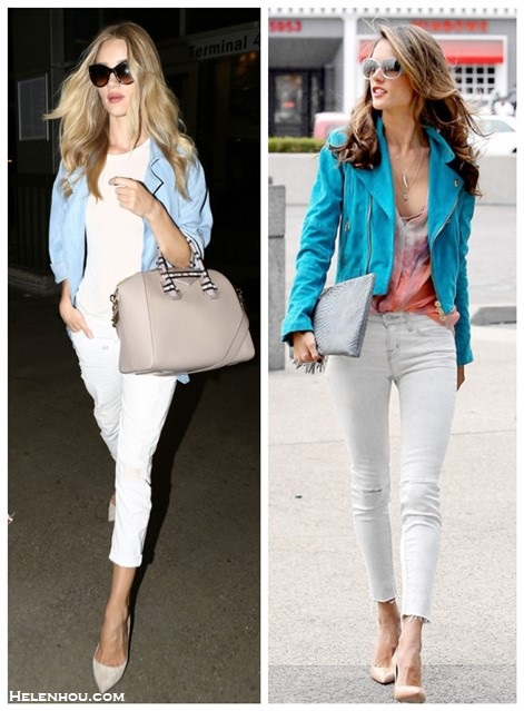 Spring/summer outfit ideas 2014; blue and white color combination; How to style distressed white jeans;