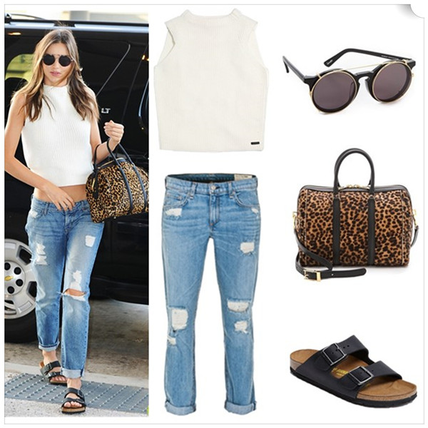 Models off duty, spring/summer 2014 outfit ideas, how to wear crop tops, how to wear sports trend, how to style distressed/boyfriend jeans;   Top: Coach MERINO SLEEVELESS TOP (similar here & here)  Jeans: Rag & Bone Boyfriend jean (anther great style here)  Sunglasses: Sunday Somewhere Matahari Sunglasses  Bag: A.L.C. Lucas Satchel (also here; similar here)  Shoe: Birkenstock 'Arizona' Soft Footbed Suede Sandal (yes, it's the pair on the Miranda Kerr! also adore this color!)
