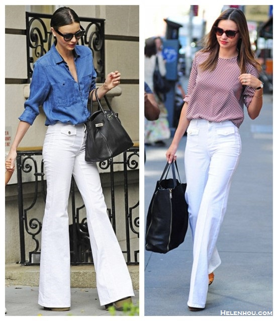 Miranda Kerr street style 2014; Chic Summer Outfit Ideas; how to wear white flare jeans.