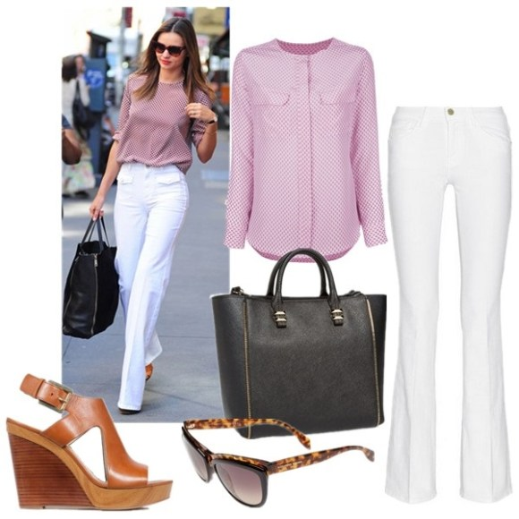 Miranda Kerr street style 2014; Chic Summer Outfit Ideas; how to wear white flare jeans.   Shirt: Madewell indigo linen Shirt: Equipment Lynn Geometric-Print Silk Blouse (similar here)  Jeans: Frame Denim Le High Flare high-rise jeans (also here)  Bag: Rebecca Minkoff 'Mini Perry' Tote  Sunglasses: Alexander McQueen 58mm Cat Eye Sunglasses  Shoe: MICHAEL Michael Kors 'Josephine' Wedge