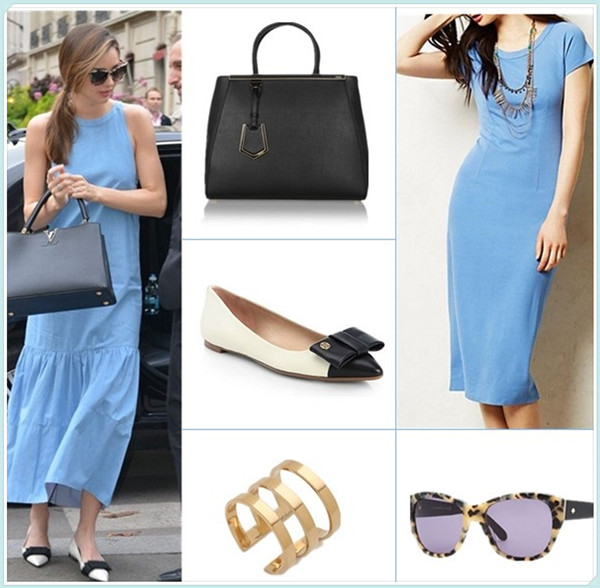 How to wear maxi dresses; summer outfit ideas 2014;  Models off Duty looks;  Clockwise from top left:  Bag: Fendi '2Jours Elite' Leather Shopper (great alternative here)  Dress: Anthropologie Midi Pencil Dress  Sunglasses: Kate Spade New York Kia Square Tortoise Sunglasses  Ring: Jennifer Zeuner Jewelry Yvette 3 Band Ring  Shoe: Tory Burch Aimee Bicolor Leather Bow Point-Toe Flats (similar here)