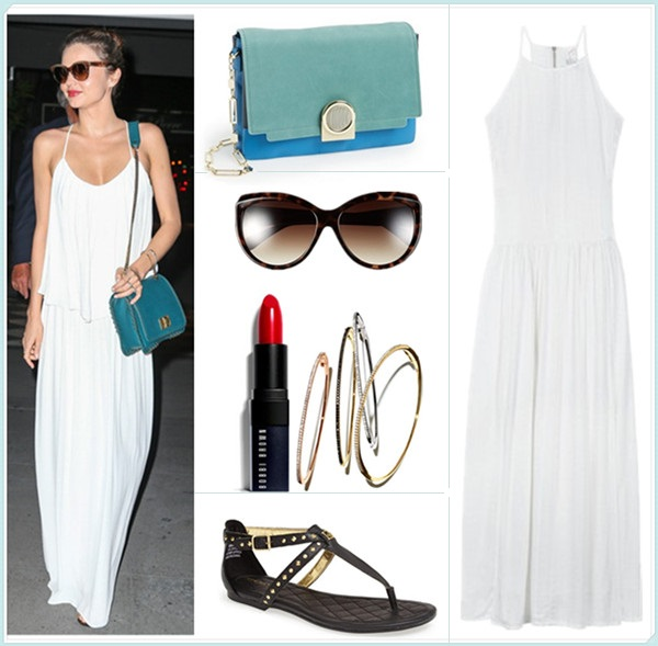 Models off Duty, celebrities street style 2014, how to wear maxi dresses, summer outfit ideas.  Bag: Pour la Victoire 'Bijou' Colorblock Shoulder Bag  Sunglasses: Kenneth Cole Reaction 59mm Cat Eye Sunglasses  Lip: Bobbi Brown Lip Color in 'Hollywood Red'  Bangle: Bony Levy Skinny Diamond Bangle   Shoe: Sperry Top-Sider 'Summerlin' Sandal (or this classic summer essential)  Dress: Three of Something Underworld Maxi Dress (also love this!)