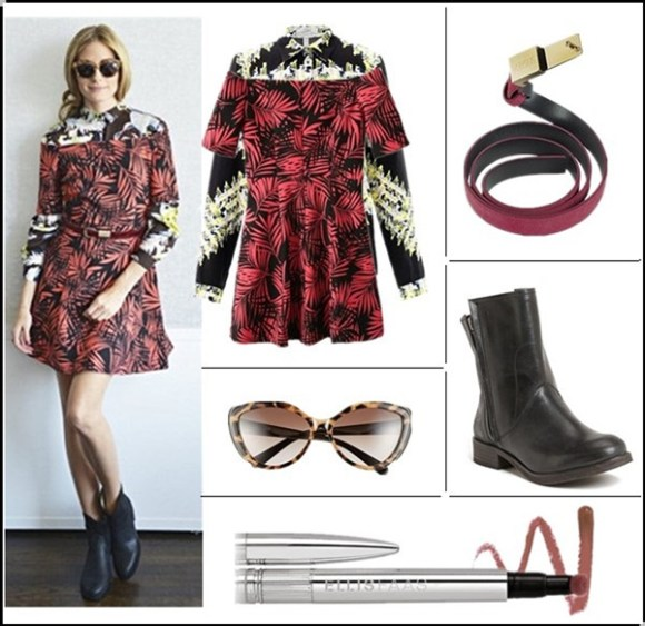 Celebrities street style 2014; How To Wear Floral Trend;  Summer Outfit Ideas 2014;   Clockwise from top left:  Dress: Choies Leaves Print Dress With Off Shoulder & Blouse: Erdem Cecilia tweed-print blouse (similar here)  Belt: Versace Versus - Burgundy Leather Skinny Belt (similar here)  Boot: Hinge 'Sheldon' Boot (Women) (on Olivia Palermo here)  Lip color: Ellis Faas Hot Lips in 'Pink Nude' (perfect everyday color!)  Sunglasses: Velvet Eyewear 'Joie' 55mm Cat Eye Sunglasses