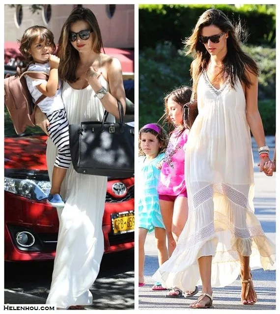 Models off Duty looks; spring/summer 2014 outfit ideas; how to style a white maxi dress.