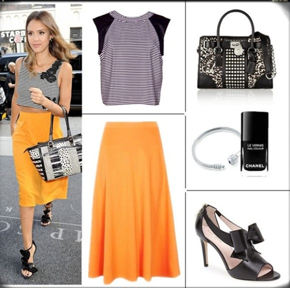 How to wear crop tops; celebrity street style; spring/summer 2014 outfit ideas.  Top: GREYLIN CASEY STRIPED CROPPED TOP  Skirt: Booboo Arianna Plain Full Circle Midi Skirt  Shoe: kate spade new york 'daria' sandal (lusting over this pair for fall!)  Bag: MICHAEL Michael Kors Hamilton studded leather and printed calf hair tote (on Jessica Alba here!)  Accessories: Pandora Sterling Silver Charm Bracelet 2kate spade new york 'imelda' cutout nappa leather pump