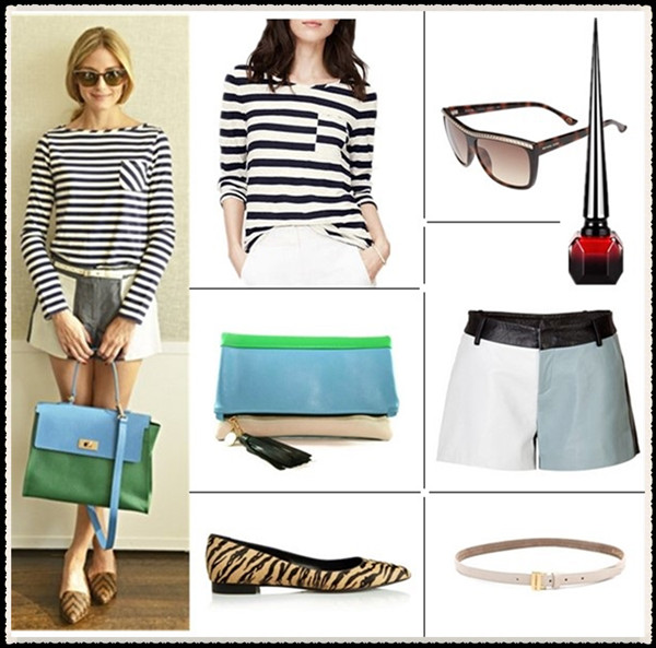 How to wear stripes, celebrity street style  2014; spring/summer outfit ideas,   Clockwise from top left:  Top: Loft PETITE PIECED STRIPE LONG SLEEVE TEE (another great style here!)  Sunglasses: MICHAEL Michael Kors 'Emerson' 59mm Studded Sunglasses  Nail polish: Christian Louboutin Beauté 'Rouge Louboutin' Nail Colour (A color that took the designer three years to perfect!)  Shorts: Each Other Leather Colorblock Shorts in Blue/White/Navy (similar here, included in the 70% off + extra 25% off Tibi sale!)  Belt: B-Low The Belt Baby Colette Belt  Shoe: Saint Laurent Tiger-print calf hair point-toe flats (similar here & here)  Bag: C.Blau Handbags Harlow Clutch (a great colorblock satchel on sale here!)