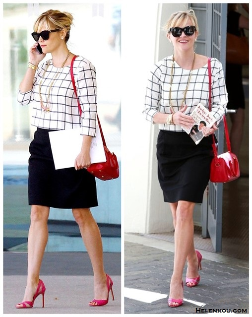 Stylish Work Outfits; How to wear colored bags, celebrity street style  2014; spring/summer outfit ideas