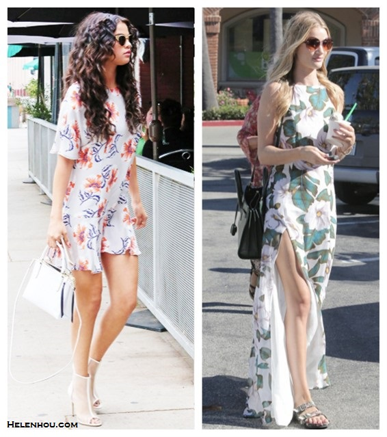 How to wear floral print dresses; celebrity street style  2014; spring/summer outfit ideas
