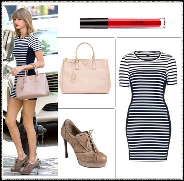 How to wear stripes, celebrity street style  2014; spring/summer outfit ideas,   Clockwise from top left:  Lipstick: Stila 'stay all day' liquid lipstick in 'Fiery'   Dress: Topshop striped bodycon dress (yes, it's the one on Swift; also here)  Shoe: Yves Saint Laurent Light Brown Suede Tasseled Lace-Up Tooled Oxford Pumps (on sale! similar here & here)  Bag: Prada Saffiano Medium Double Zip Top-Handle Bag (6 more colors here! similar here)