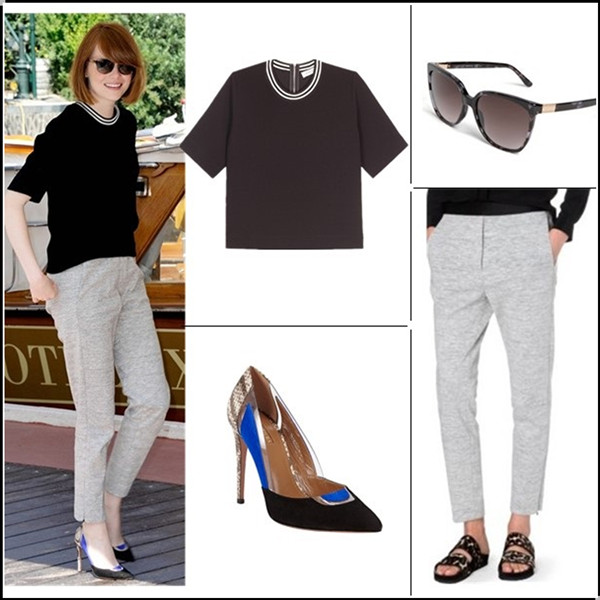 celebrity street style, sports trend, how to wear crop tops, Clockwise from top left:  Sandro Elien Striped Neck Textured Top ($18 here)  Gucci 57mm Oversized Sunglasses  Sandro Pretenders Cotton-Blend Leggings (great alternative here & here here  Aquazzura Positano Pump
