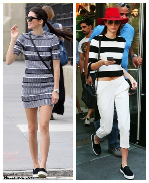 Kendall Jenner wearing T by Alexander Wang Rib Knit Short Sleeve Dress, Celine Skate Slip Ons, Celine Nano Bag. striped sweater, topshop white pants, September 4, 2014