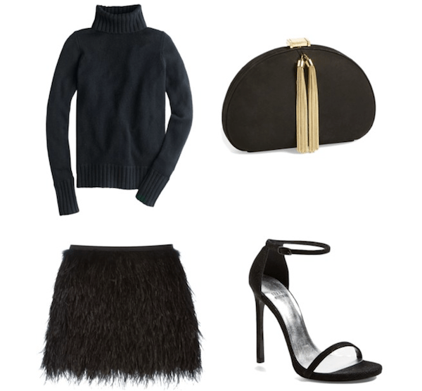 party outfit feather skirt, black sweater and stuart weizman