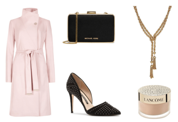 pink coat, tassel necklace, michael kors clutch, studed pump