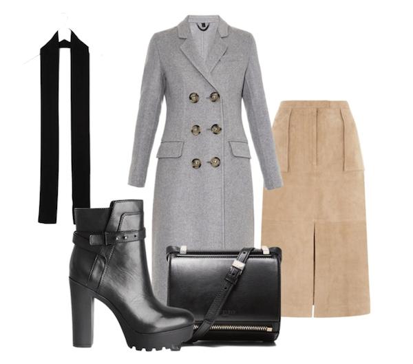 alexa chung inspired 70s look-suede skirt, tarlored coat, and prada skinny scarf
