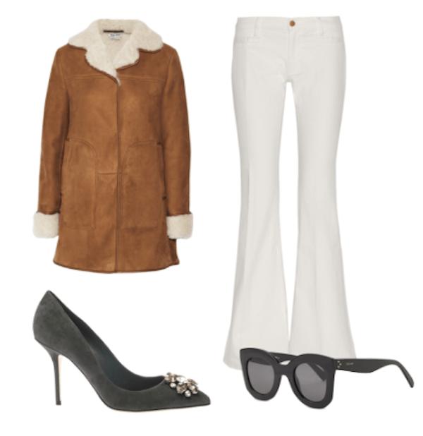 olivia palermo At the Giambattista Valli 2015 fashion show -flare denim jean and suede trend-helenhou