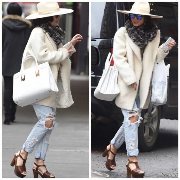vanessa Hudgens street style Broadway performance-white fedora, Saint Laurent Sac de Jour bag, ripped jeans, platform sandal