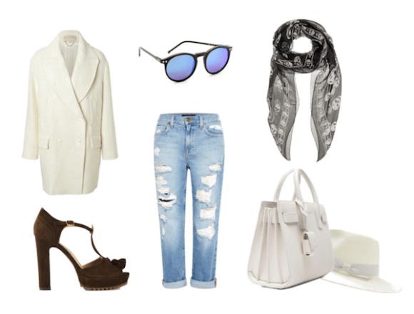vanessa Hudgens street style distressed jeans, saint laurent bag, platform sandal, mirrored sunglasses and white coat