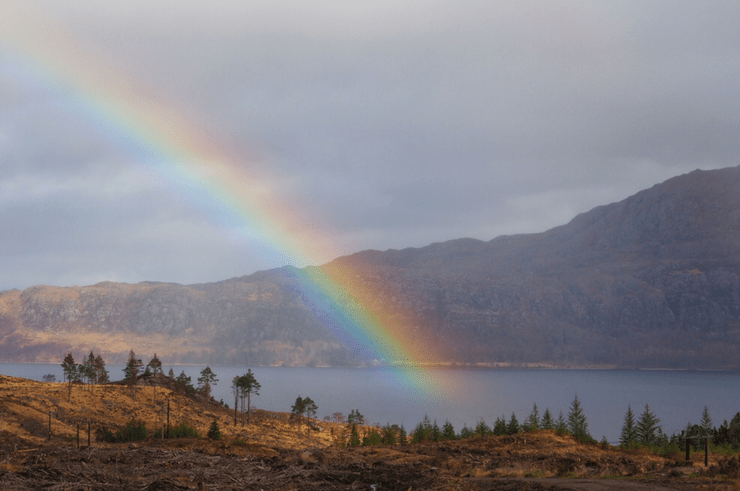 Rainbow in the Scottish Highlands