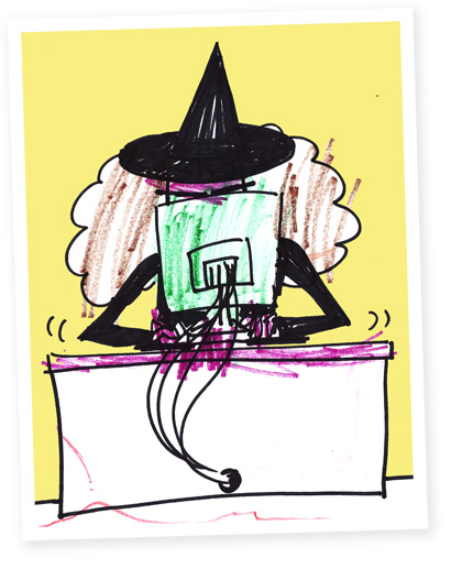 This witch uses the computer for enchantments and mild stalking.