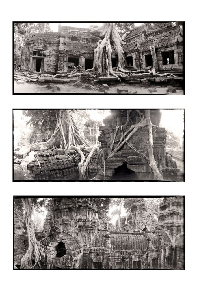 jason Florio photography - Black & White triptych image of Angkor Wat temple, in the jungle, Cambodia