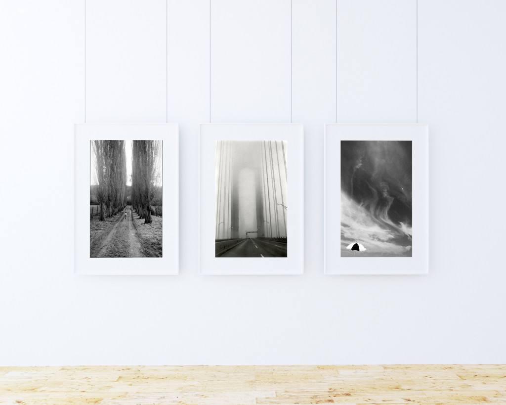 Chris Bartlett Photography - triptych of prints, hanging on a wall, in white frames - 'Kids Running in a country lane, Veranzo Bridge, NY, and a parasol on Jones Beach