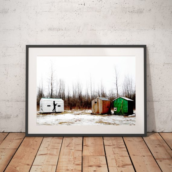 'ICE FISHING SHEDS' CANADA © Jason Florio-color small sheds in woods