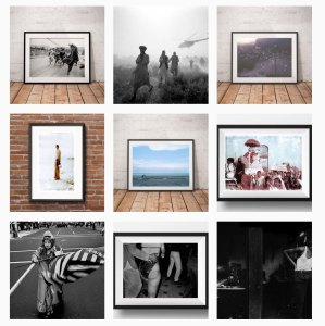 Montage of photography prints - framed and unframed