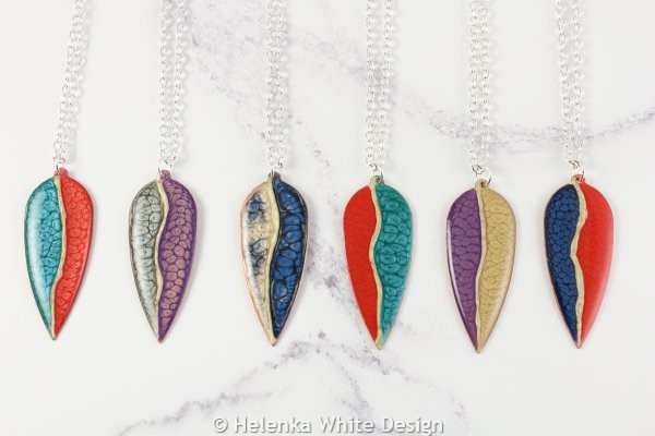 Painted copper leaf pendants