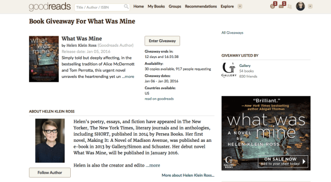 Goodreads Giveaway Screenshot with Ad