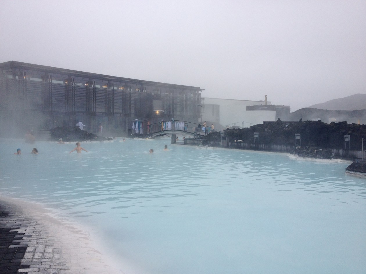 Enjoying the lovely warm bath at the Blue Lagoon