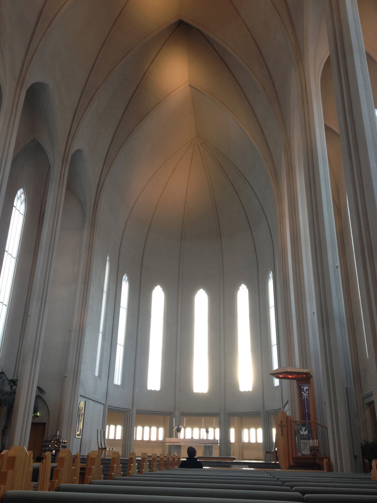 Inside Hallgrímskirkja. It's very peaceful.