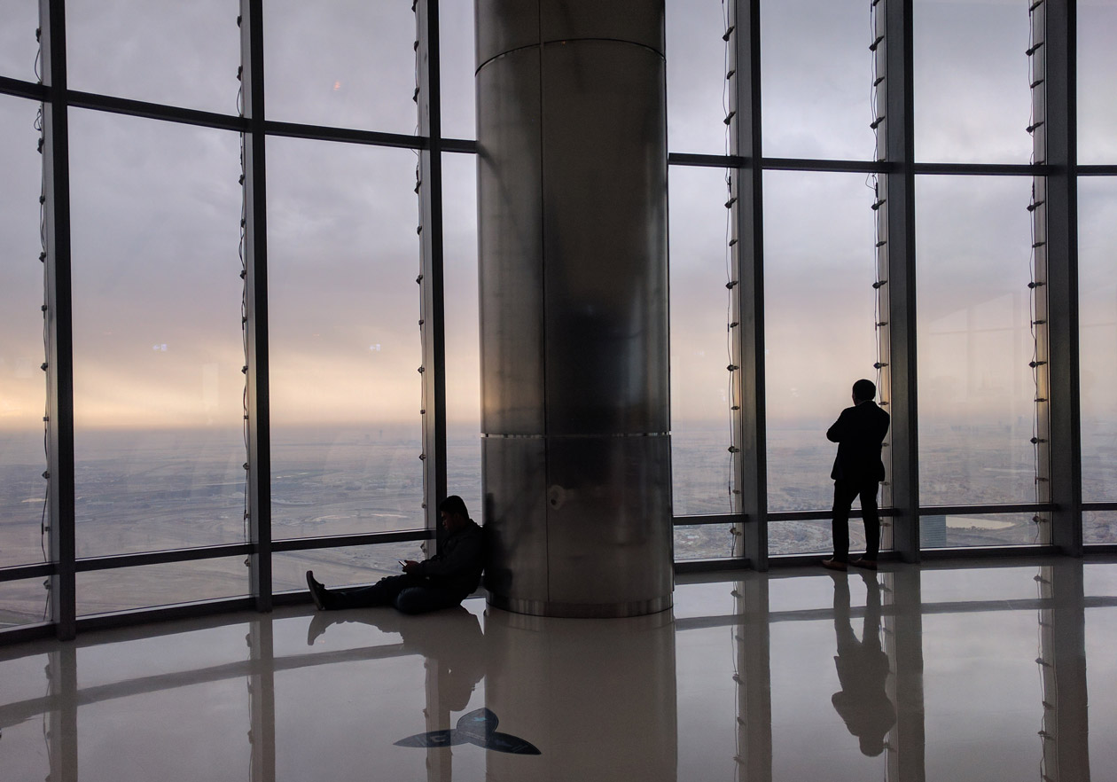 Watching the sunrise at the top of the Burj Khalifa